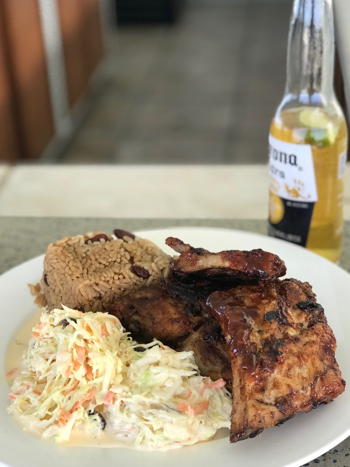 BVI Restaurant Guide - Ribs and creamy coleslaw up at Hog Heaven, Virgin Gorda
