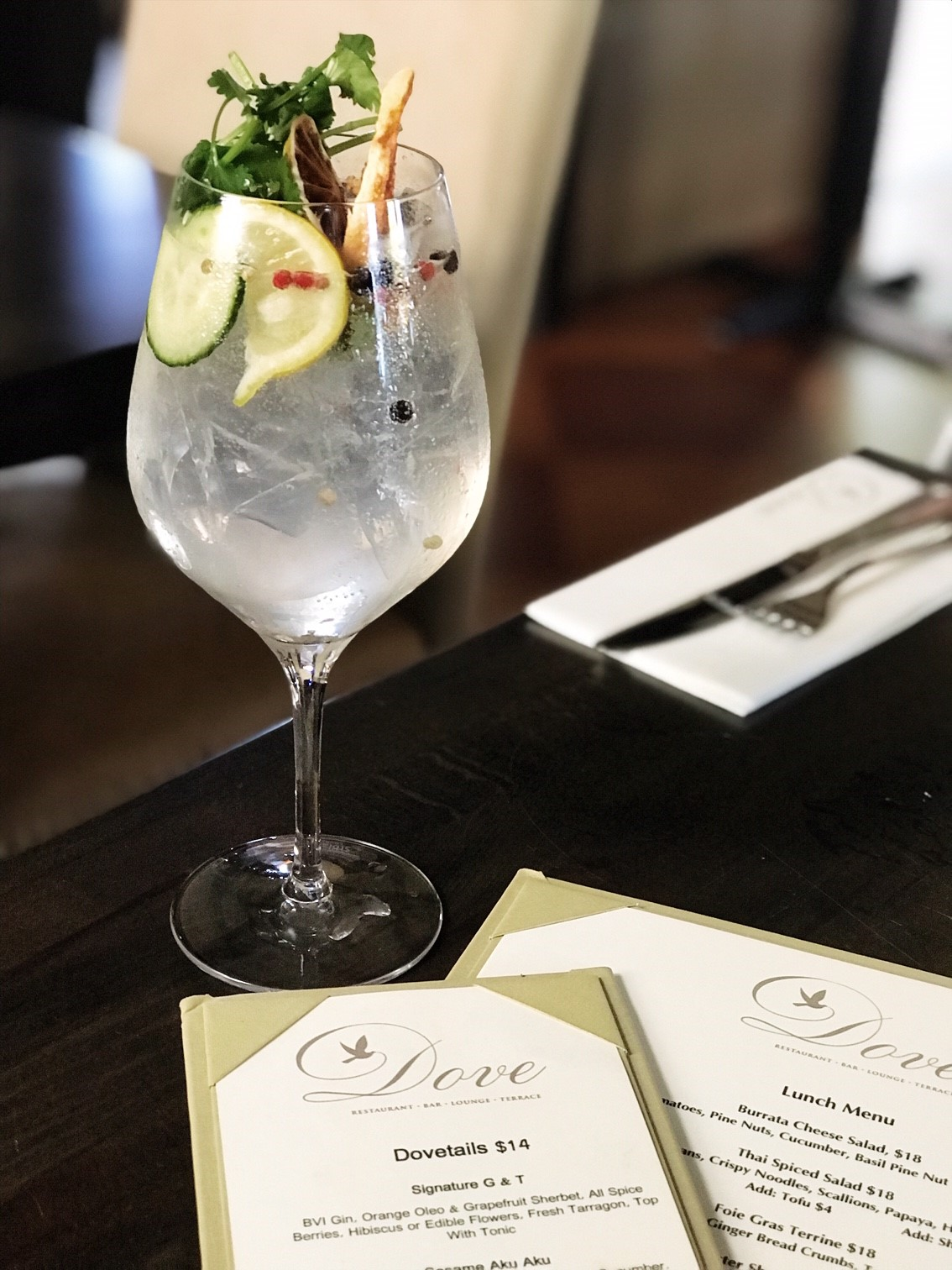 British Virgin Islands Restaurant Guide - Where to eat when visiting the BVI. Enjoying a G&T at The Dove Restaurant