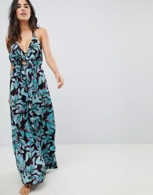 Palm Print Tie-Front Maxi