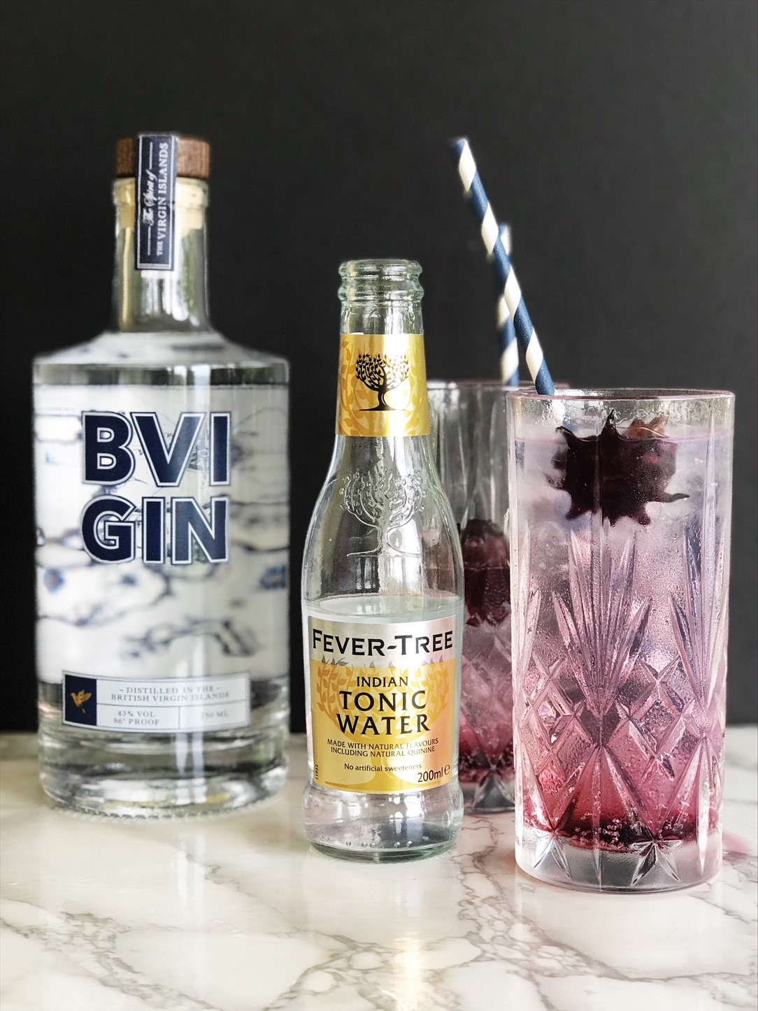 Easy cocktail recipes with BVI Gin - Hibiscus Gin and Tonic