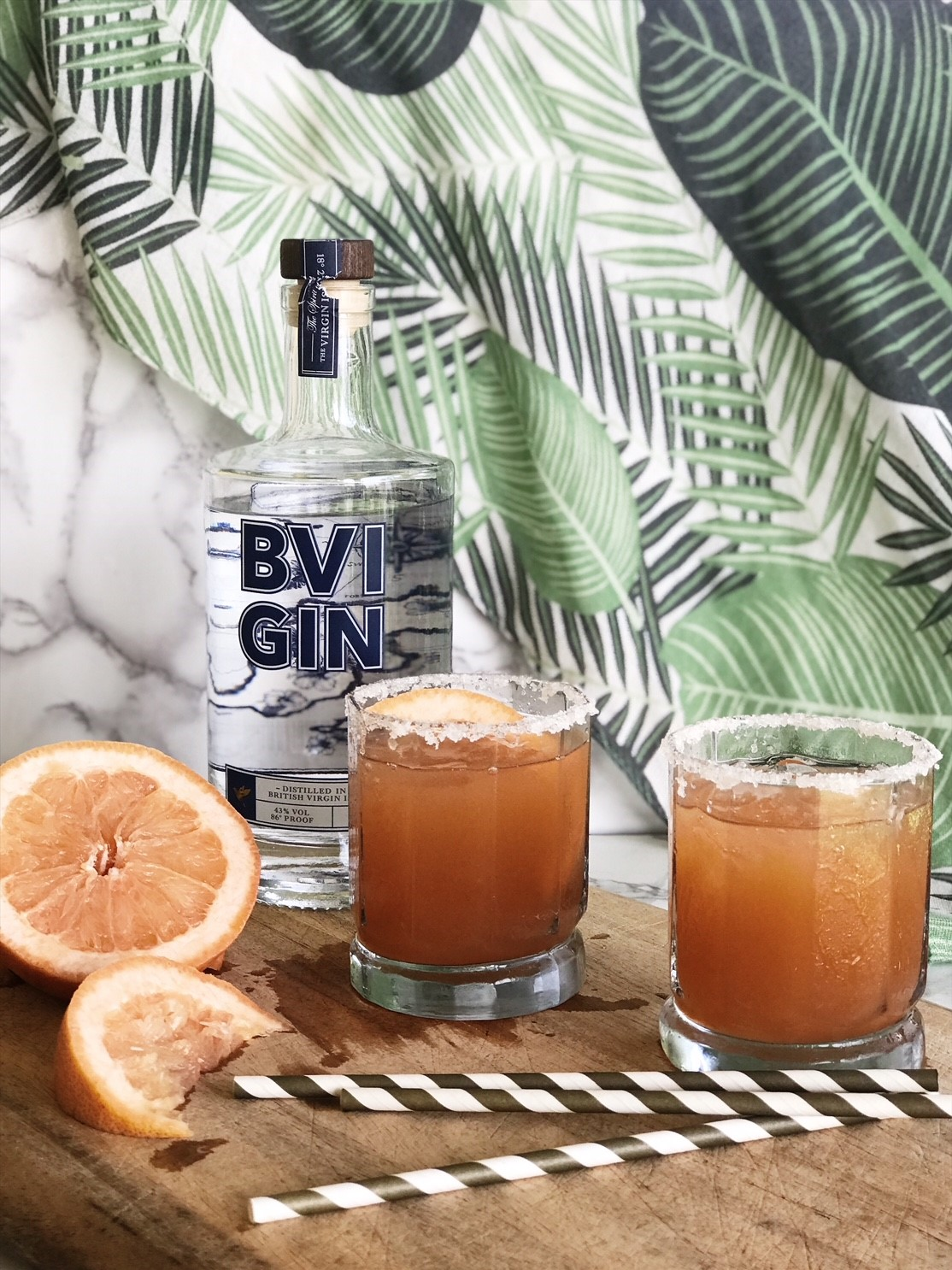 Easy cocktail recipes with BVI Gin - Salty Dog, Gin and Grapefruit Juice