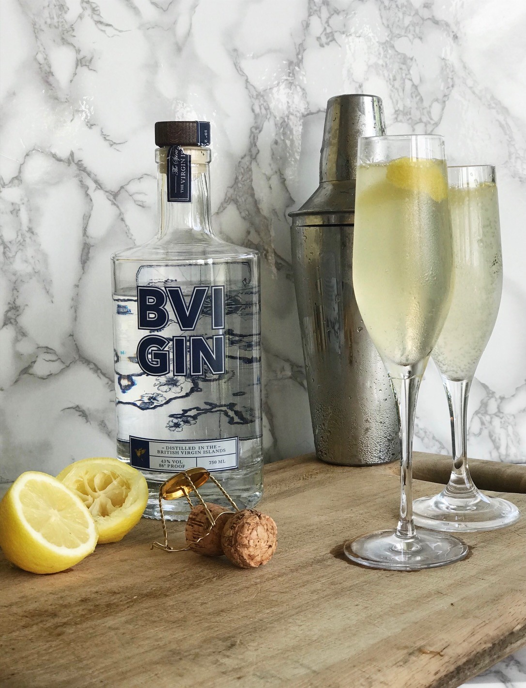 Easy Cocktails with BVI Gin - French 75, Gin and Lemon Cocktail