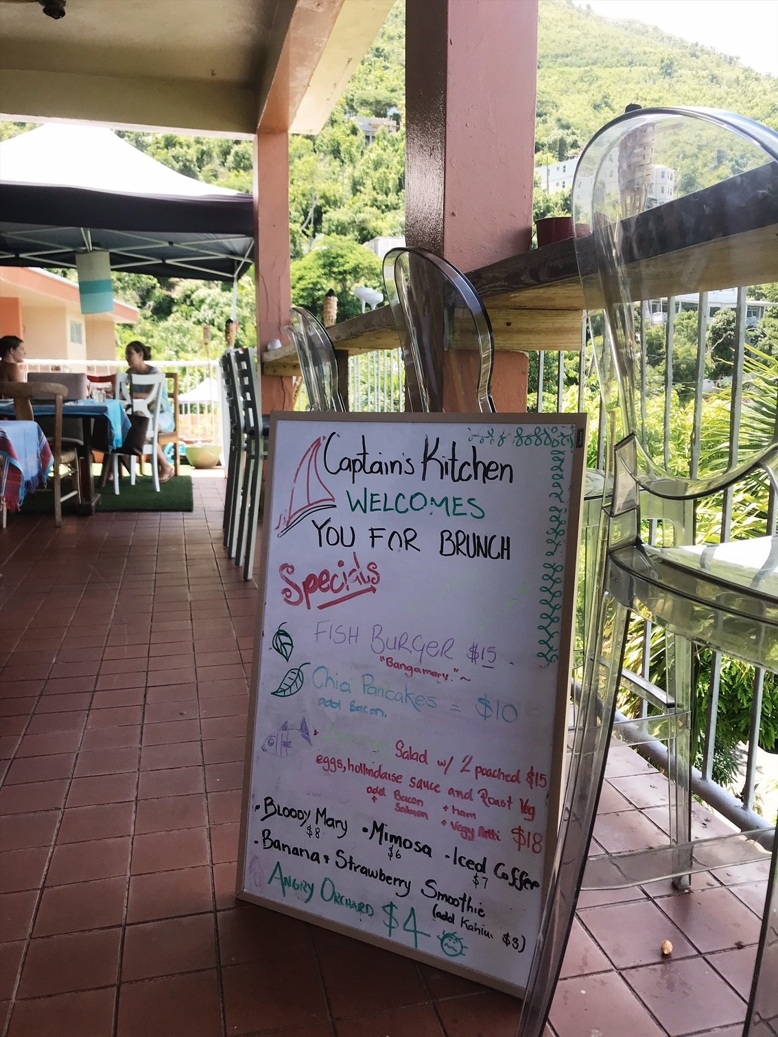 Brunch at Captain's Kitchen BVI - checking out the specials