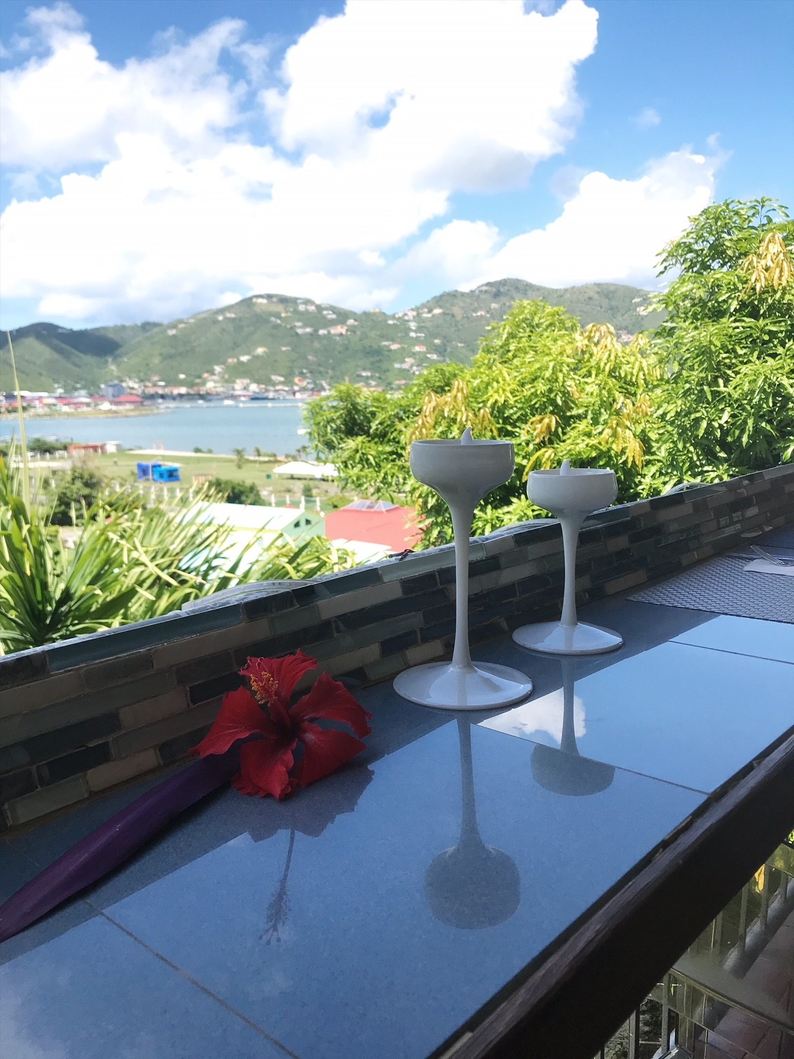 Brunch at Captain's Kitchen BVI - views over Road Town