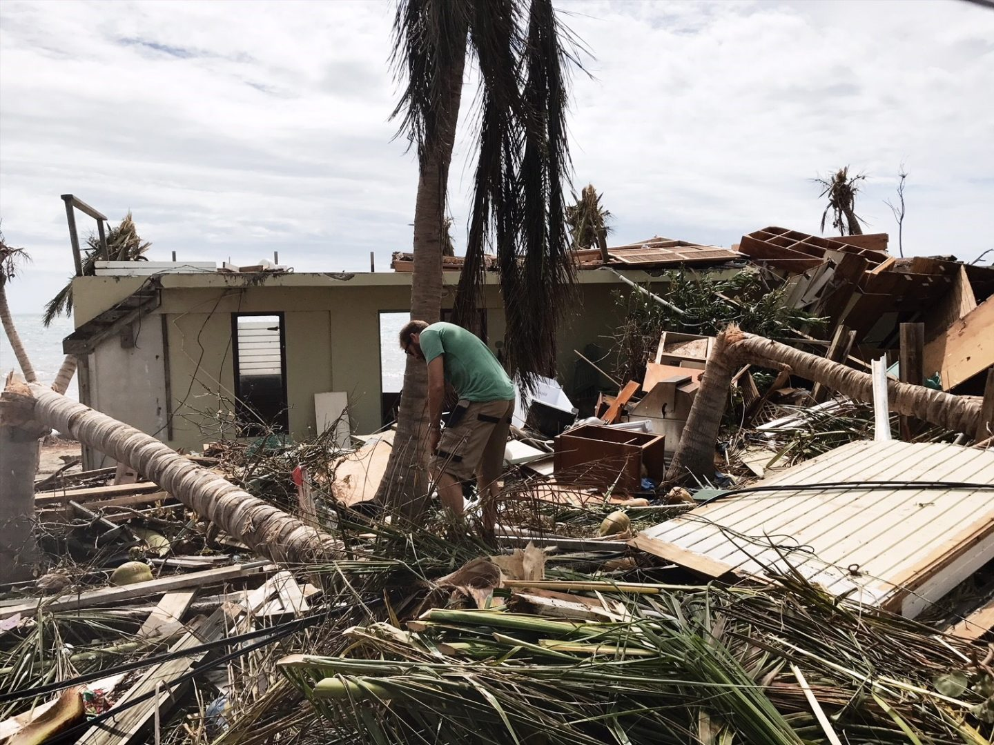 Finding wood to board up the house after hurricane Irma devastates the BVI