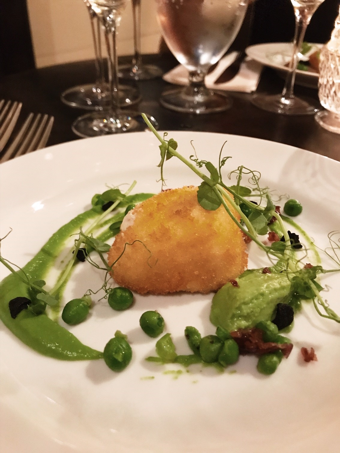 Elena Walch Wine Tasting at the Dove Restaurant - Third Course - Fried Burrata and Textures of Pea