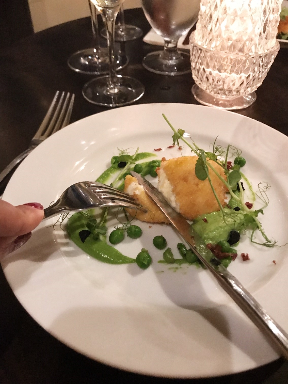 Elena Walch Wine Tasting at the Dove Restaurant - Third Course - Fried Burrata with Textures of Pea