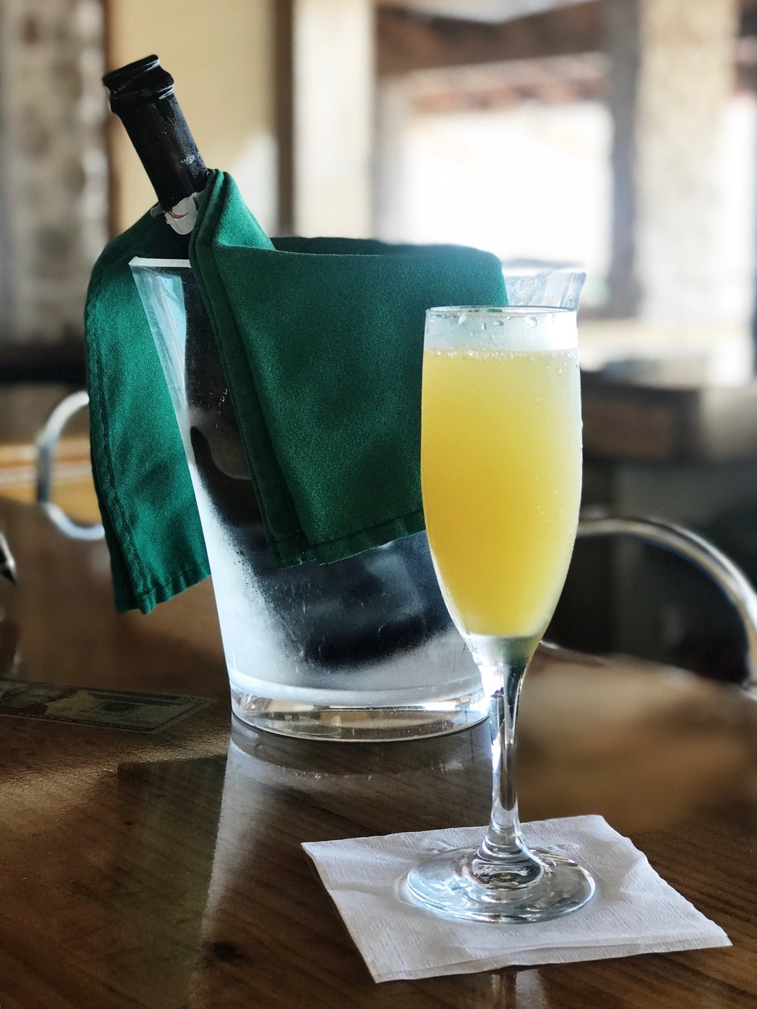 Brunch at the Sugar Mill BVI - Mimosas before sitting down for brunch