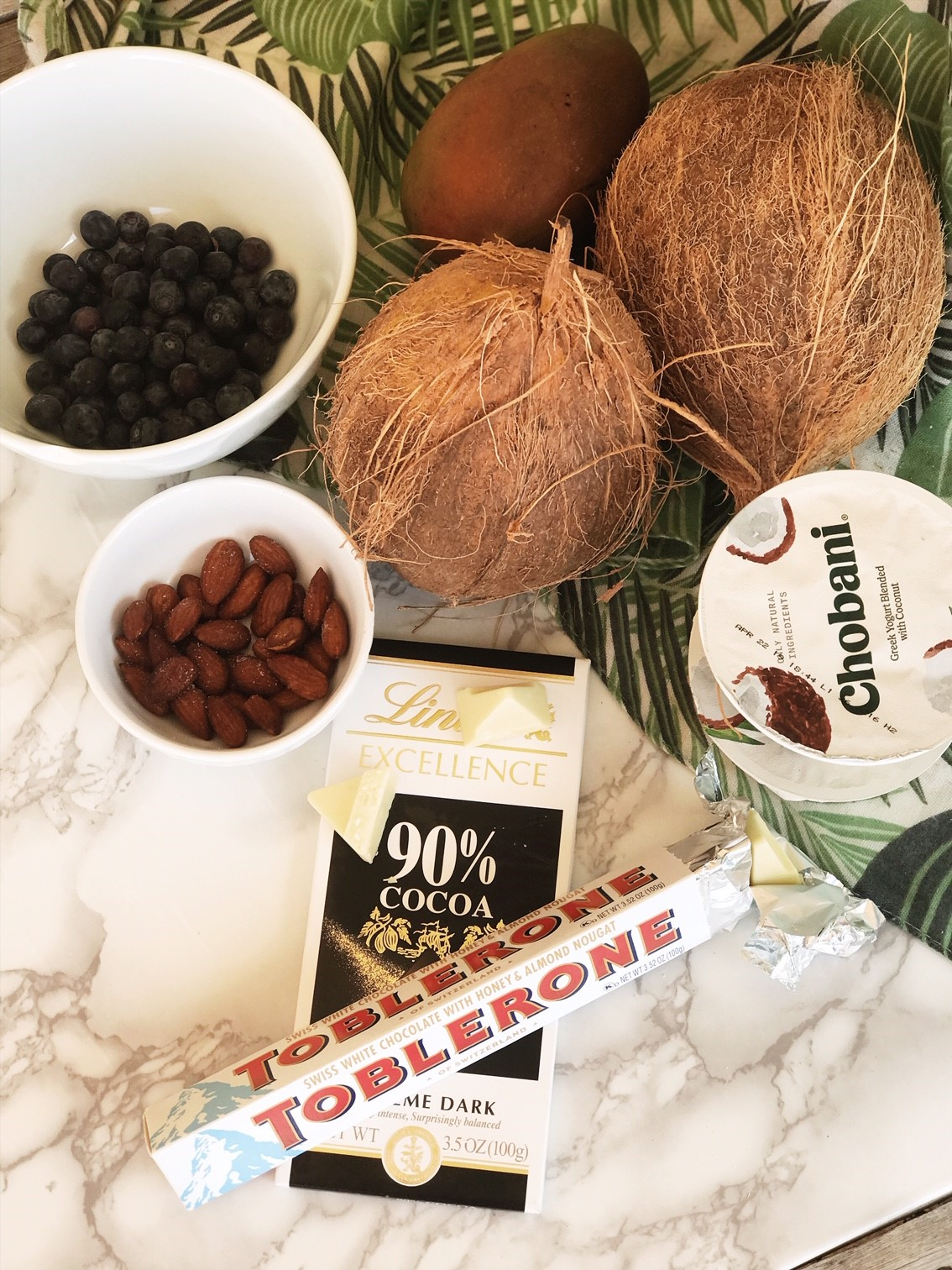 Double Chocolate Coconut Bowl Recipe - Assembling all the ingredients