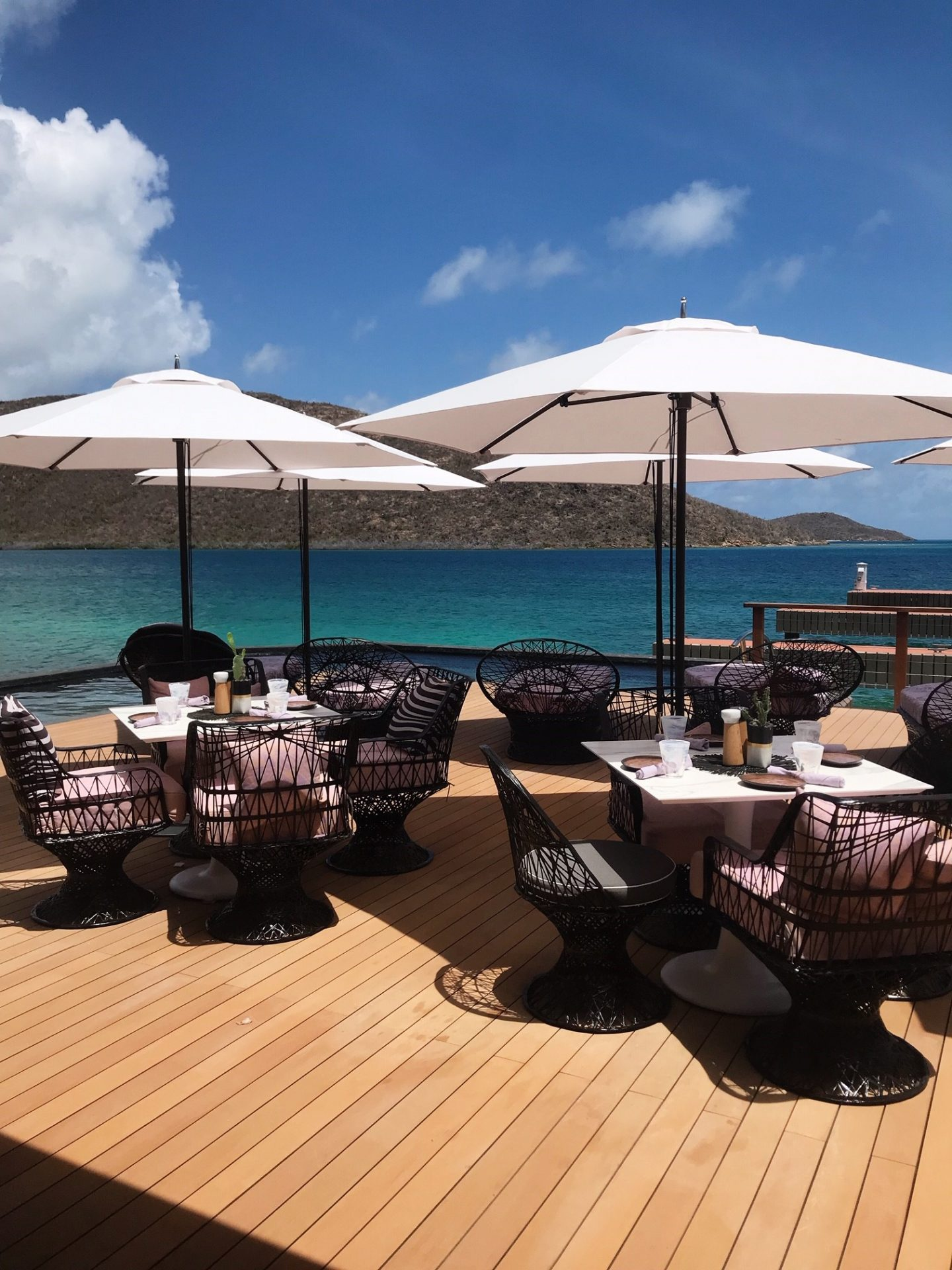 Sea Views from Nova Restaurant, Oil Nut Bay in the British Virgin Islands