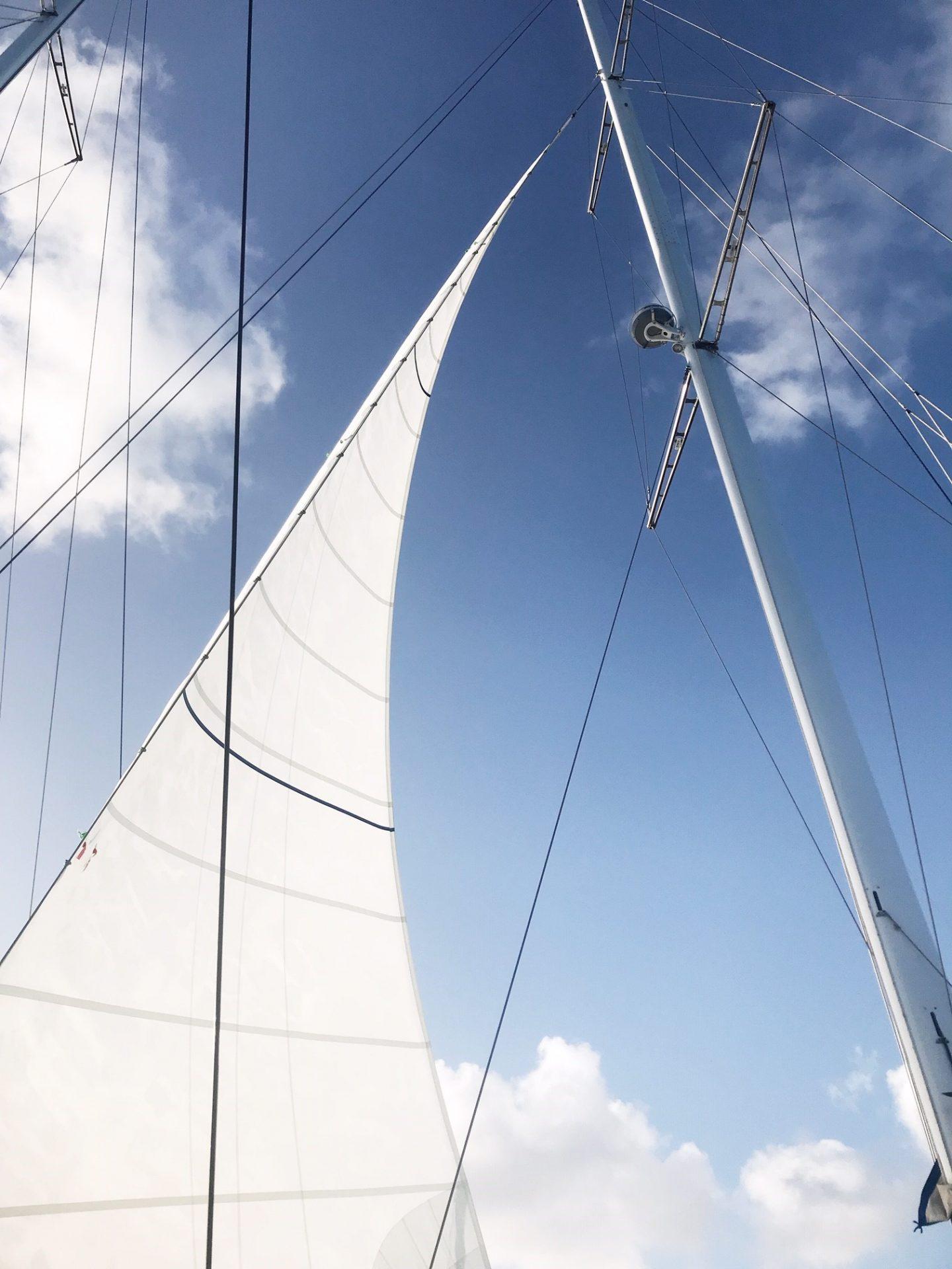 BVI Sailing - Sails up on Cuan Law