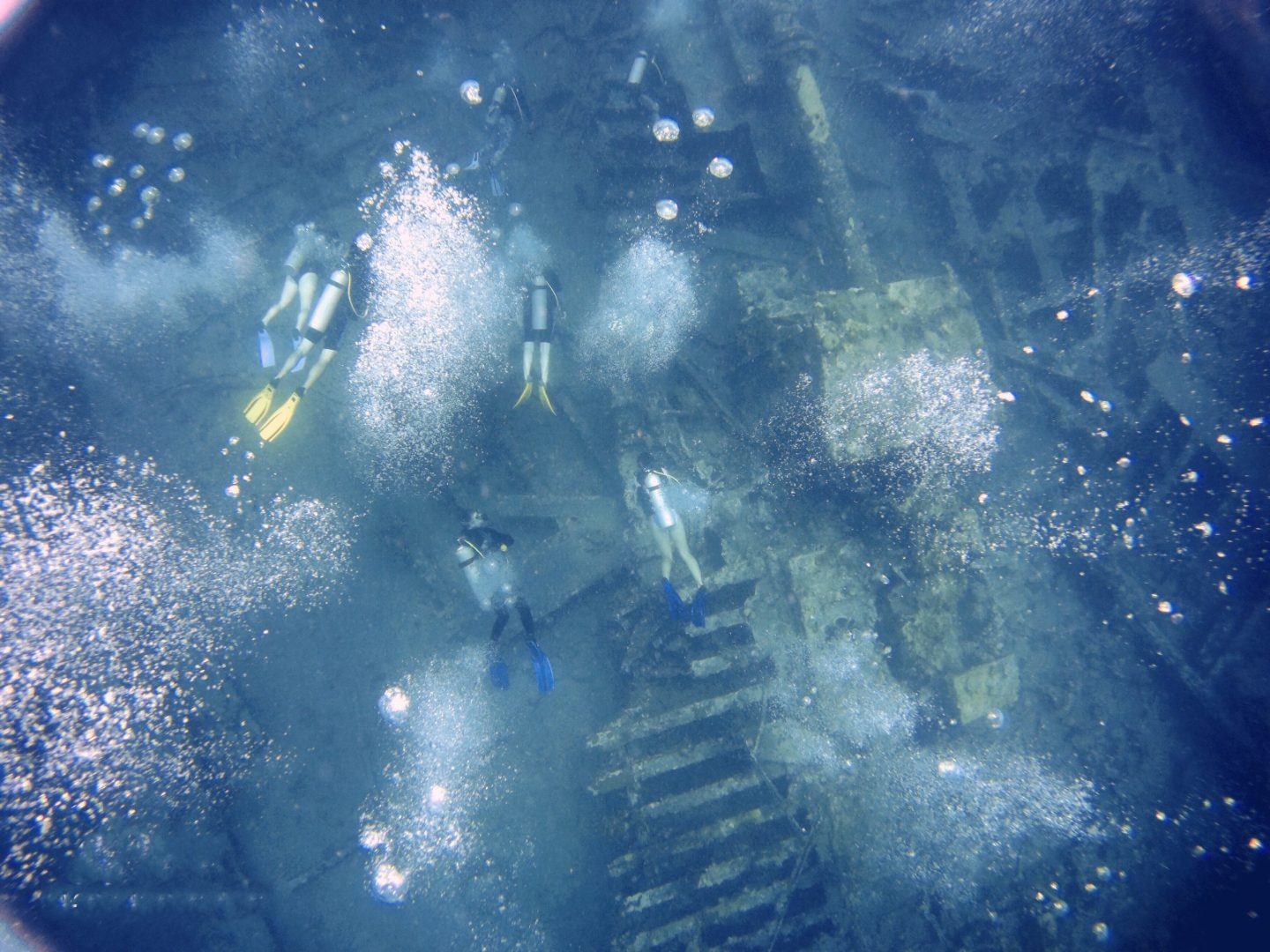 Snerkeling the Wreck of the Rhone in the British Virgin Islands - watching the divers underneath
