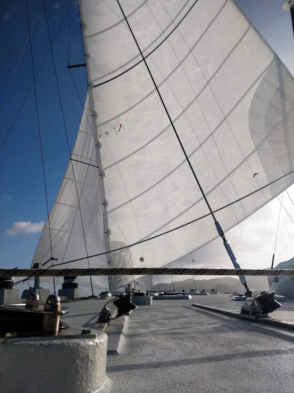 BVI Sailing - Sails up on Cuan Law