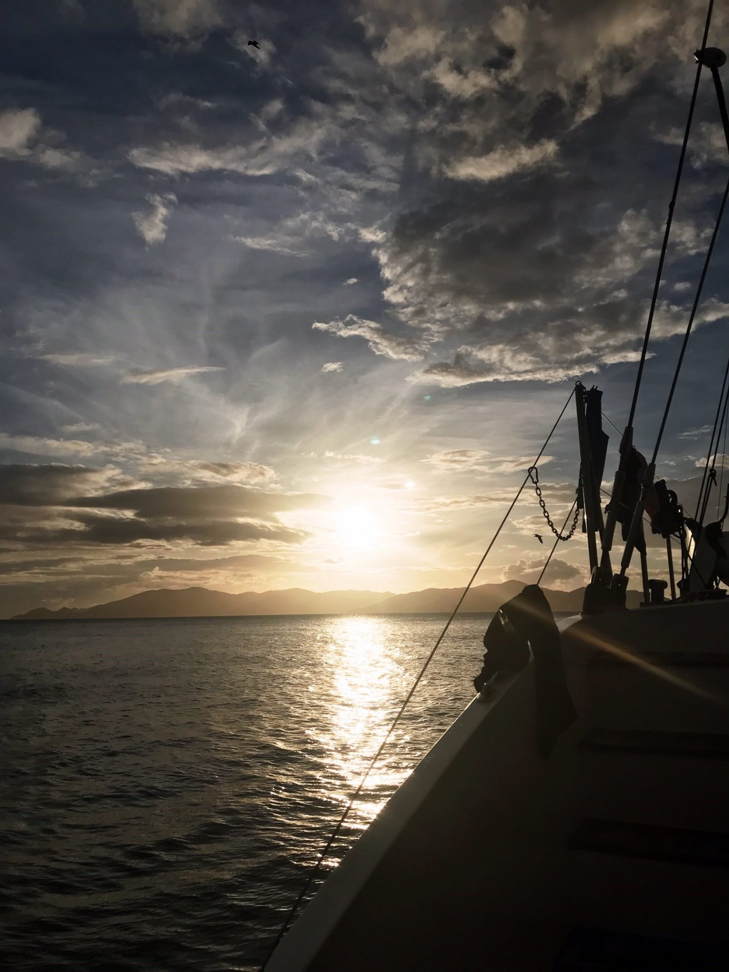 BVI Sailing - the end of the day, watching the sun go down aboard Cuan Law