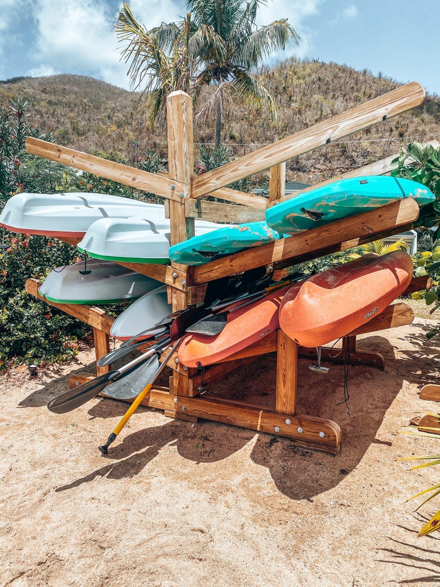 Watersports equipment at Mango Bay Resort